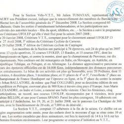 Article de l'Assemblée de l'A.S. Carnoux 2008