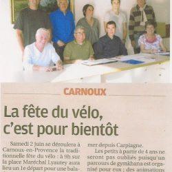 La Provence du 20 mai 2012 - La fête du vélo, c'est pour bientôt