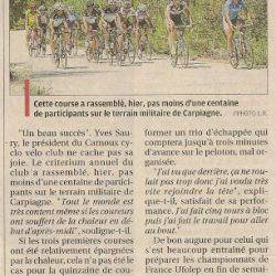 Article La Provence du 9 juillet 2012 - Le Critérium de Carpiagne