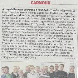 Article La Provence - Un pot d'honneur pour Pablo à l'ASC Cyclo - Dimanche 26 Mai 2013